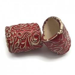 Tunel ceramiczny wałek rurka z ceramiki czerwony ze wzorem