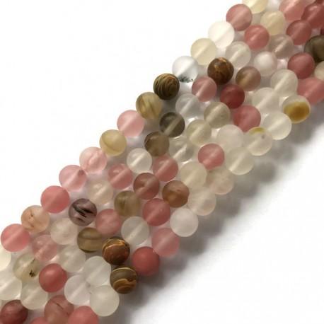 Kwarc kulka 6mm różowy mix sznurek