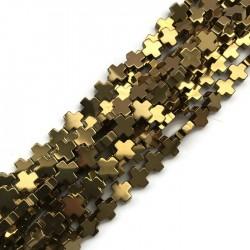 Hematyt krzyżyk gładki 10x10mm sznurek złoty