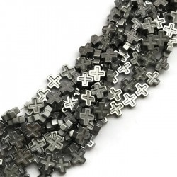 Hematyt krzyżyk 8x8mm sznurek srebrny