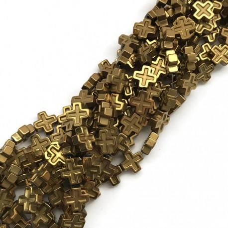 Hematyt krzyżyk 8x8mm sznurek złoty