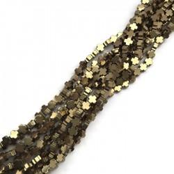 Hematyt krzyżyk gładki 4x4mm sznurek złoty