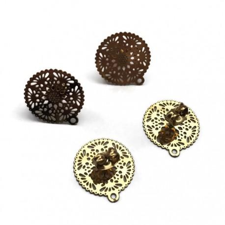 Ażurowa podstawa sztyfta z barankiem 16x15mm stal nierdzewna złoty