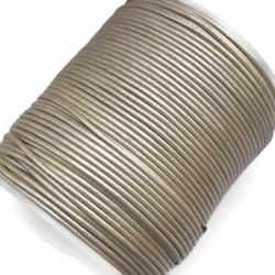 Rzemień naturalny okrągły 1,5mm - ecru metalik