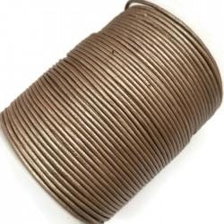 Rzemień naturalny okrągły 1,5mm - Ciemny złoty metalik