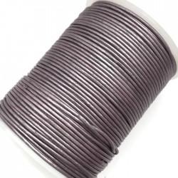 Rzemień naturalny okrągły 1,5mm - Jasny fiolet metalik