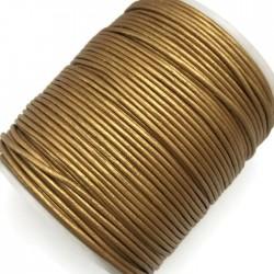 Rzemień naturalny okrągły 1,5mm - Złoty metalik