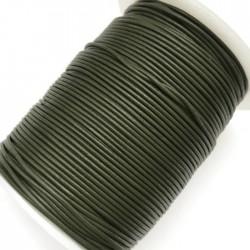 Rzemień naturalny okrągły 1,5mm - Oliwkowy