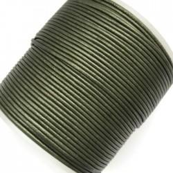 Rzemień naturalny okrągły 1,5mm - Oliwkowy metalik