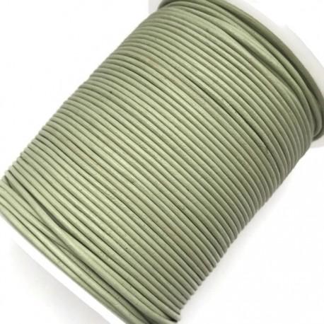Rzemień naturalny okrągły 1,5mm - Blady zielony