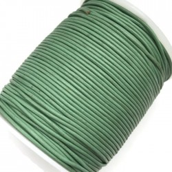 Rzemień naturalny okrągły 1,5mm - Zielony miętowy