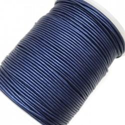 Rzemień naturalny okrągły 1,5mm - Szafirowy