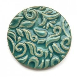 Kaboszon ceramiczny ze wzorem, koło 50mm, turkusowy