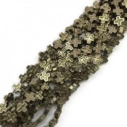 Hematyt krzyżyk 8x8mm sznurek jasne złoto