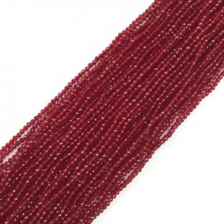 Kwarc czerwony kulka fasetowana 2mm sznurek