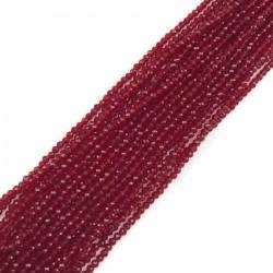 Kwarc czerwony kulka fasetowana 3mm sznurek