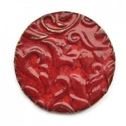 Kaboszon ceramiczny ze wzorem, koło 50mm, czerwony