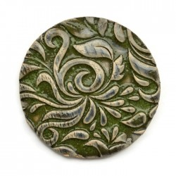 Kaboszon ceramiczny ze wzorem, koło 50mm, zielony