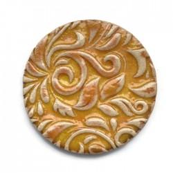 Kaboszon ceramiczny ze wzorem, koło 50mm, żółty