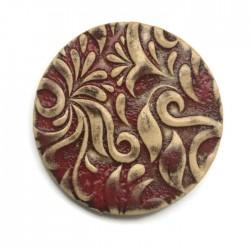 Kaboszon ceramiczny ze wzorem, koło 50mm, czerwony przecierany