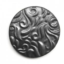 Kaboszon ceramiczny ze wzorem, koło 50mm, grafitowy