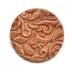 Kaboszon ceramiczny ze wzorem, koło 50mm, jasny pomarańczowy