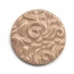 Kaboszon ceramiczny ze wzorem, koło 50mm, jasny róż