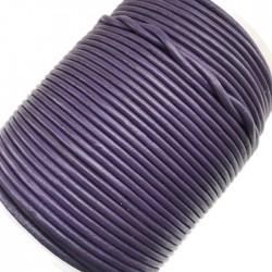 Rzemień naturalny okrągły 3mm fiolet
