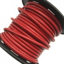 Rzemień naturalny okrągły 3mm - Czerwony