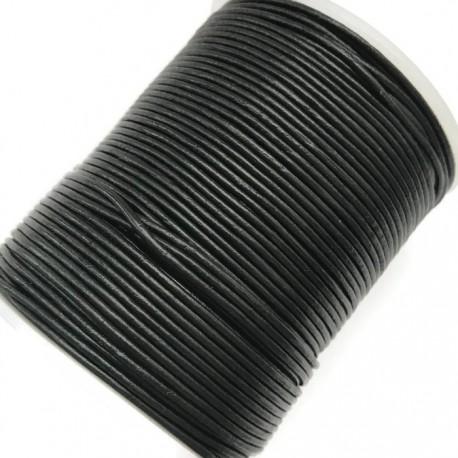 Rzemień naturalny okrągły 2mm - czarny