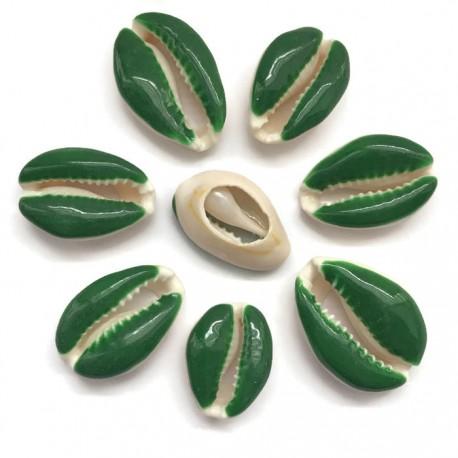 Muszelki kauri naturalne - 20~26x13~18x5~7mm - zielony