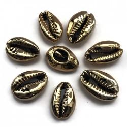 Muszelki kauri naturalne platerowana-13x20x6mm - jasno złoty