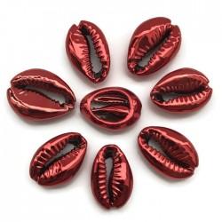 Muszelki kauri naturalne platerowana-13x20x6mm - czerwona