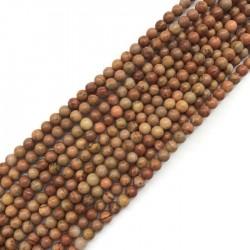 Skamieniałe drewno kulka 4mm brąz mix sznurek