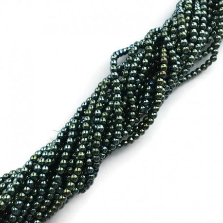 Hematyt kulka 3mm zielony sznurek