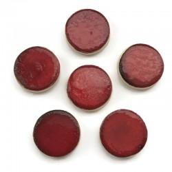 Kaboszon ceramiczny ze wzorem, koło 17mm, czerwony