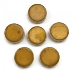 Kaboszon ceramiczny gładki, koło 17mm, żółty