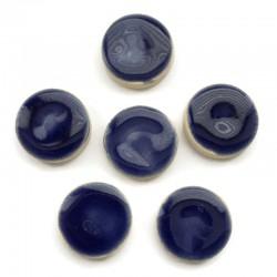 Kaboszon ceramiczny gładki, koło 17mm, ciemny niebieski