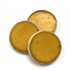 Kaboszon ceramiczny, koło 30mm gładki, żółty