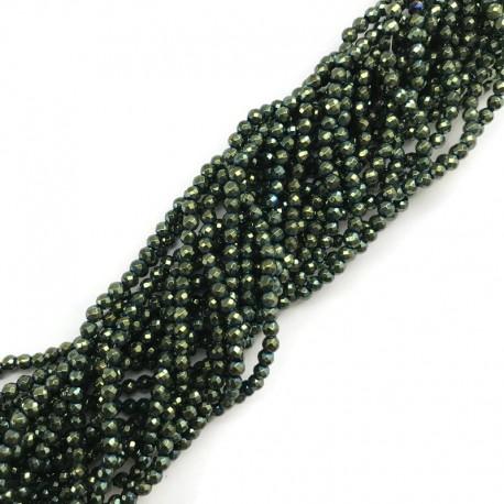 Hematyt kulka 2mm fasetowany zielony sznurek