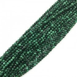 Malachit kulka fasetowana 3mm sznurek zielony