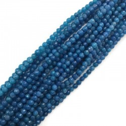 Agat kulka fasetowana 4mm sznurek niebieski