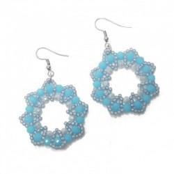 Kolczyki ręcznie szyte z koralików szklanych, stal szaro - niebieskie