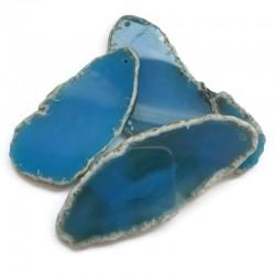 Agat brazylijski plaster nieregularny niebieski z druzą ok. 7x5 cm