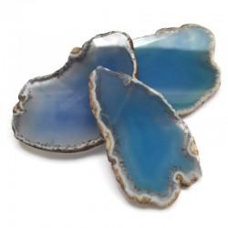 Agat brazylijski plaster nieregularny niebieski bez otworu ok. 7x5 cm