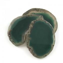 Agat brazylijski plaster nieregularny zielony bez otworu ok. 7x4 cm
