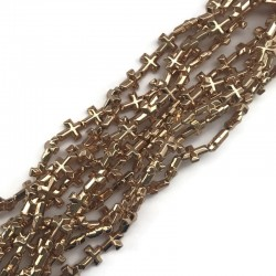 Hematyt krzyżyk 10x8mm jasno złoty sznurek