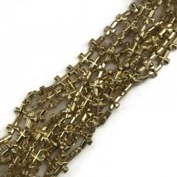 Hematyt krzyżyk 10x8mm  złoty sznurek