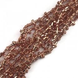 Hematyt krzyżyk 10x8mm  rose gold sznurek