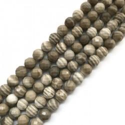 Krzemień pasiasty kulka fasetowana 3,5-4mm sznurek